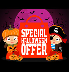 Special halloween offer design background vector