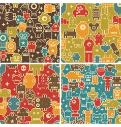 Set of seamless patterns with robots vector image
