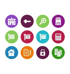 Real Estate circle icons on white background vector image