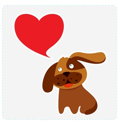 Cute dog with heart shape speech bubble vector
