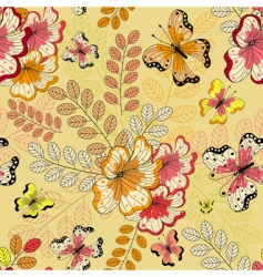 Yellow seamless floral pattern vector