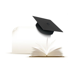 Graduation cap on white background with a book vector