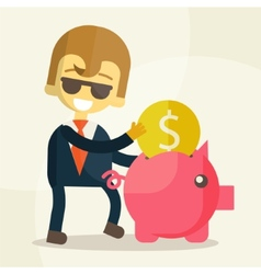 Businessman putting coin into piggy bank vector