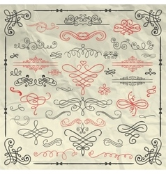 Vintage hand drawn swirls collection on crumpled vector