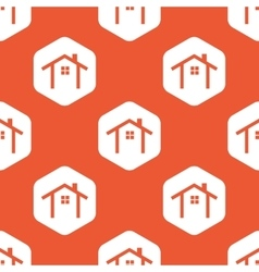 Orange hexagon cottage pattern vector