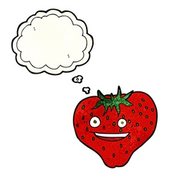 Cartoon strawberry with thought bubble vector