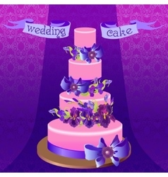 Wedding cake with purple iris flower design vector