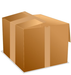 Cardboard box with sticker tape vector