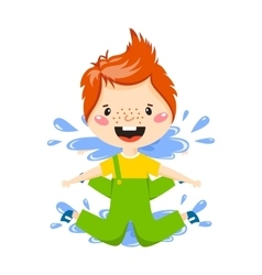 Boy in puddle vector image