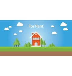 For rent renting house with text on top of the vector