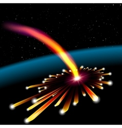 Space card with meteorite explosion vector