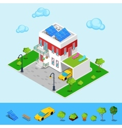 Isometric house with sun batteries garage vector