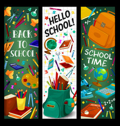 Back to school stationery banners set vector