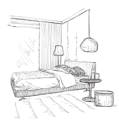 Bedroom modern interior drawing sketch vector