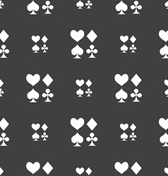 Card suit icon sign seamless pattern on a gray vector