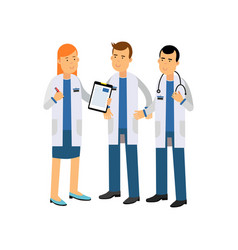 cartoon characters of three doctors in white coats vector image vector image