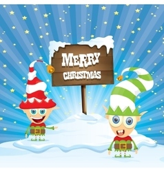 Cartoon merry christmas elf on north pole vector