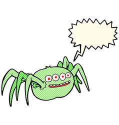 cartoon spooky spider with speech bubble vector image vector image