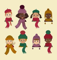 children in different headdress winter autumn hat vector image vector image