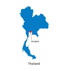 Detailed map of Thailand and capital city Bangkok vector image