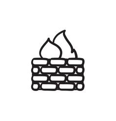 Firewall sketch icon vector