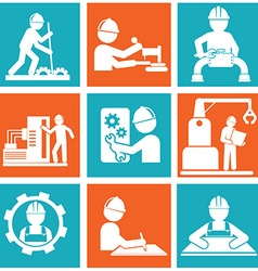 Flat construction icon set on colorful background vector