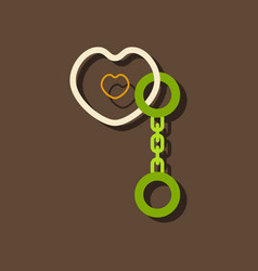 Flat icon design sex handcuffs and heart in vector