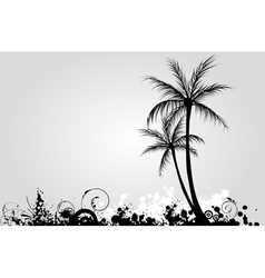 grunge palm 2 vector image vector image