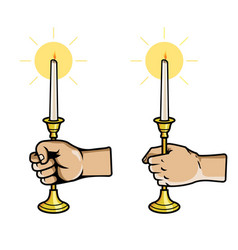 hand grab candle stick vector image vector image