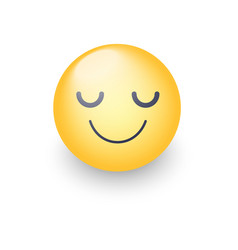 happy cartoon emoji face with closed eyes smiling vector image