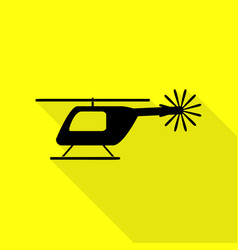 Helicopter sign black icon with flat vector
