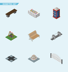 Isometric urban set of intersection highway vector
