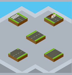 Isometric way set of driveway unilateral upwards vector