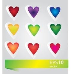 Nine glossy hearts f vector