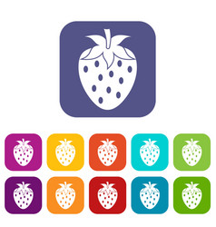 One strawberry berry icons set flat vector