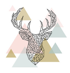 Polygonal head deer portrait scandinavian style vector