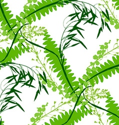 Seamless green background with wildflowers vector image vector image