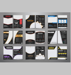Set of black flyers with different geometric vector