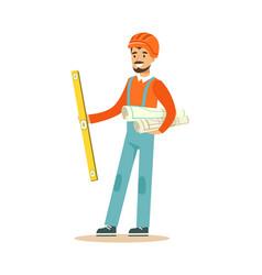 smiling architect in orange safety helmet standing vector image vector image