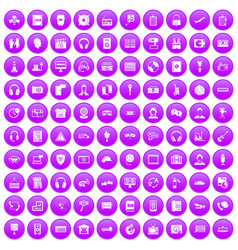 100 headphones icons set purple vector
