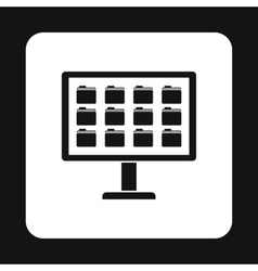 Storing files in computer icon simple style vector