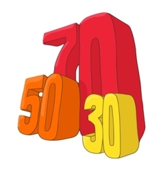 Fifty seventy and thirty discounts icon vector