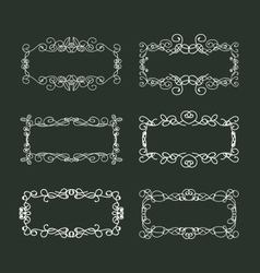 Calligraphic doodle frames set vector