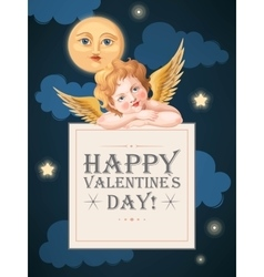Valentines day card with cupid and moon vector