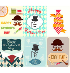set posters greeting cards happy fathers day vector image