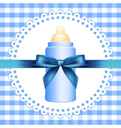 checkered background with baby bottle vector image