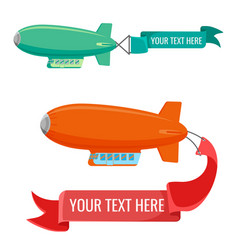 set of blimps with advertising banners vector image