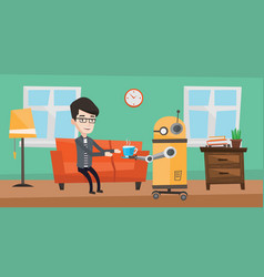 Domestic robot brings cup of coffee to his owner vector