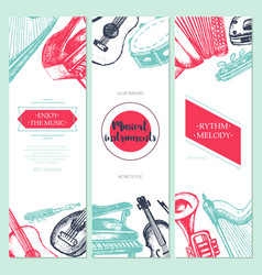 Musical instruments - hand drawn template banner vector