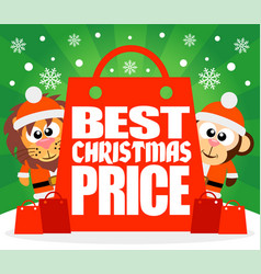 Best christmas price card with lion and monkey ve vector